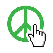 World peace green sign with cursor hand vector icon — Stock Vector