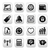 Web conjunto de botones de internet - vector — Vector de stock
