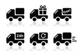 Delivery car, shipping vector icons set — Stock Vector
