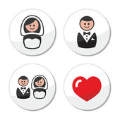 Groom and bride on round white labels — Stock Vector