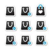 Shopping bag vector icons set — Stock Vector