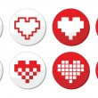 Pixeleted red heart icons set - love, dating online concept — Stok Vektör