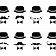 Gentleman icon - man with moustache and bow tie set — Vettoriali Stock