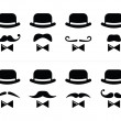 Stock Vector: Gentleman icon - man with moustache and bow tie set