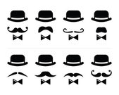 Gentleman icon - man with moustache and bow tie set — Stock Vector
