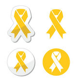 Yellow ribbon - support for troops, suicide prevention, adoptive parents symbol — Stok Vektör