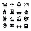 Travel tourism and transport icons set - vector — Stock Vector #20991173