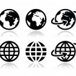 Globe earth vector icons set with reflection — Stock vektor