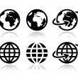 Globe earth vector icons set with reflection — Stockvektor