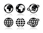 Globe earth vector icons set with reflection — Stock Vector