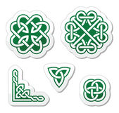 Celtic green knots patterns - vector — Vettoriale Stock