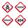 Danger, oops, error, 404 red warning sign — Stock Vector