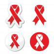 Red ribbon - AIDS, HIV, heart disease, stroke awereness sign — Stock Vector #21475571