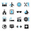 Travel tourism and transport icons set - vector — Stock Vector #21561515