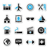 Travel tourism and transport icons set - vector — Stock Vector