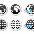 Globe earth vector icons set with reflection — Stock Vector #21607789