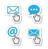 Contact - envelope, email, speech bubble with cursor hand icons — Stock Vector