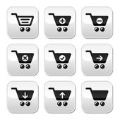 Shopping cart vector buttons set — Vector de stock