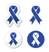 Navy blue ribbon - child abuse, drunk driving symbol — Stock Vector