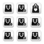 Shopping bag vector buttons set — Stock Vector