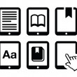 E-book reader, e-reader vector icons set — Stock Vector #22005683