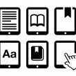Stock Vector: E-book reader, e-reader vector icons set