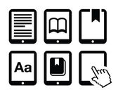 E-book reader, e-reader vector icons set — Stock Vector