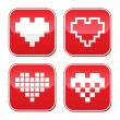 Pixel heart love vector buttons set — Stock Vector