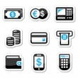 Money, atm - cash mashine vector icons set - Stock Vector
