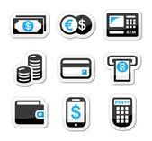 Money, atm - cash mashine vector icons set — Stock Vector