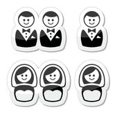 Gay, lesbian marriage icons set — Stock Vector