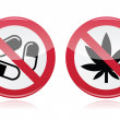Stock Vector: Addiction problem - no drugs, no marijuanwarning sign