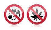 Addiction problem - no drugs, no marijuana warning sign — Stock Vector