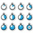 Time, clock, stopwatch vector icons set — Stock Vector