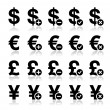 Currency icons set - dollar, euro, yen, pound - Stock Vector