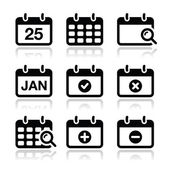 Calendar date vector icons set — Stock Vector
