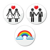 Gay, lesbian marriage, rainbow icons set — Stock Vector