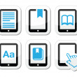 E-book reader, e-reader vector icons set — Stock Vector #22394887