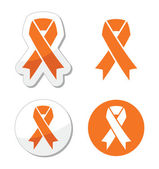 Orange ribbon - leukemia, hunger, humane treatment of animals sign — Stock Vector