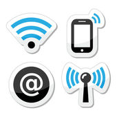 Wifi network, internet zone icons set — Stock Vector
