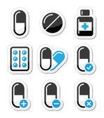 Pills medication icons set — Stock Vector