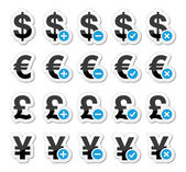 Currency icons set - dollar, euro, yen, pound — Stock Vector