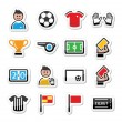 Soccer, football vector icons set — Stock Vector
