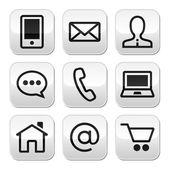 Contact web vector stroke buttons set — Stock Vector