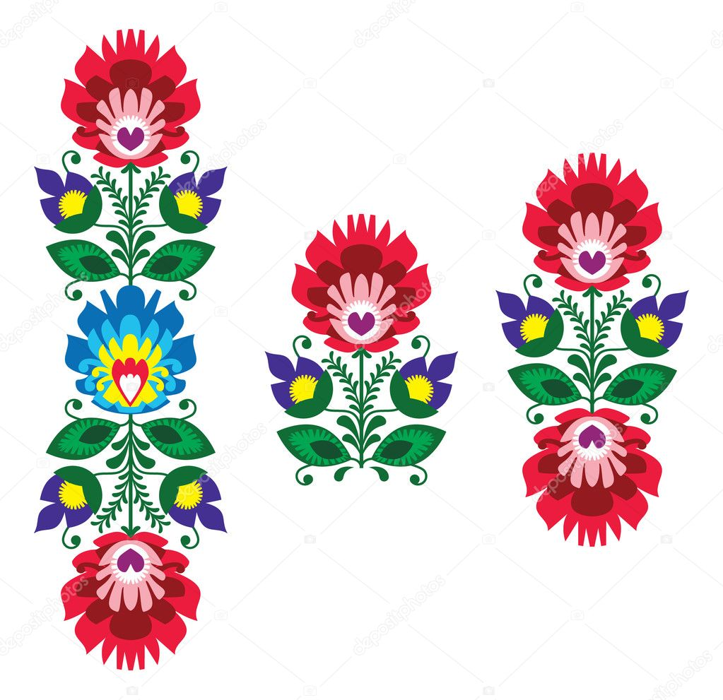 Folk Embroidery Floral Traditional Polish Pattern Stock Vector