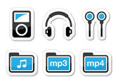 Mp3 player vector icons set — Stock Vector