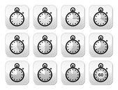 Time, clock, stopwatch vector buttons set — Stock Vector