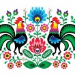 Stock Vector: Polish floral embroidery with cocks - traditional folk pattern