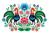 Polish floral embroidery with cocks - traditional folk pattern — Stock Vector