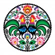 Polish floral embroidery with roosters - traditional folk pattern — Stock Vector #23054068